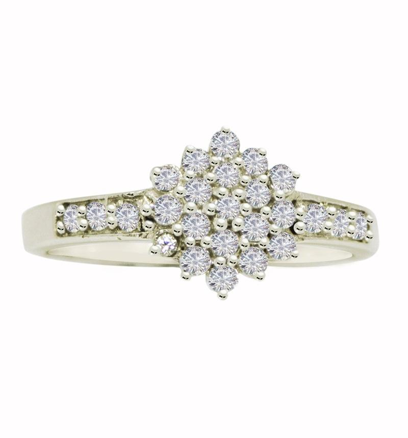 Shining Cubic Zirconia Solid Gemstone 925 Sterling Silver Ring SR628