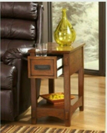 Front Living Room Chairside End Table Thin Light Oak Wood Grain Drawer Sofa Top