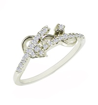 Fashionable design silver with cubic zirconia gemstone 925 sterling ring SR630 - $6.39