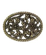 Womens Engraved Floral Cutout Antique Brass Western Decorative Belt Buckle - $9.85