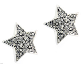 Ladies Silver Finished 16mm Large Stars Lab Cz Screw Back Stud Earrings - $9.89