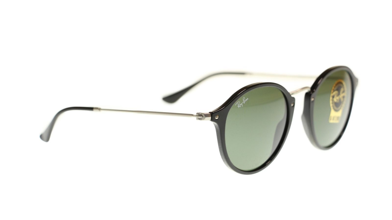 Ray Ban Men's Sunglasses RB2447 901 Black With Green Lens Round 49mm Authentic