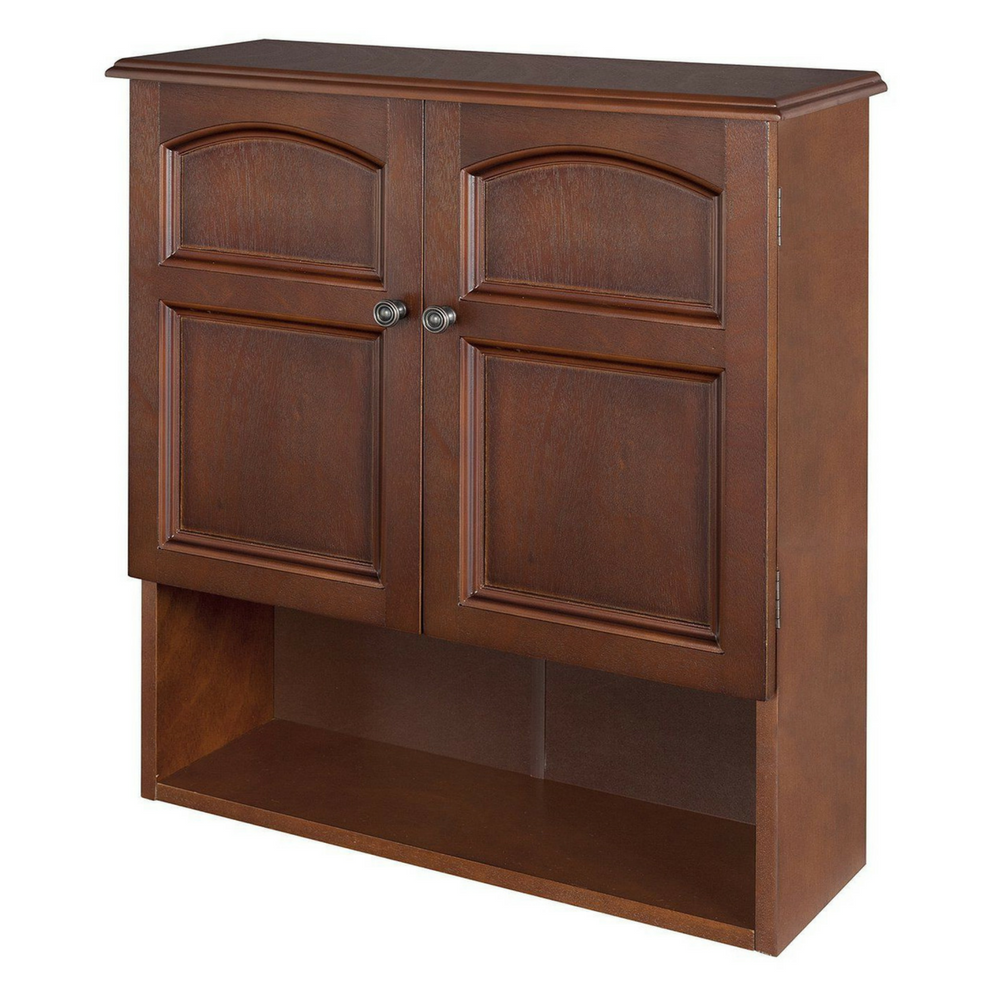 Wall mounted cabinetbathroom storage 3 shelves mahogany for Storage in cupboards