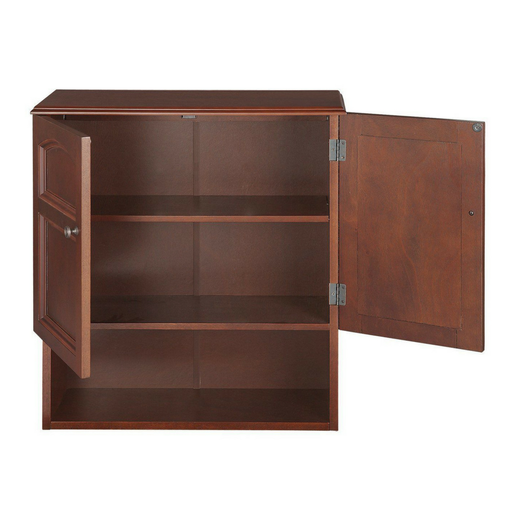 Wall mounted cabinet bathroom storage 3 shelves mahogany for Bathroom storage cabinet