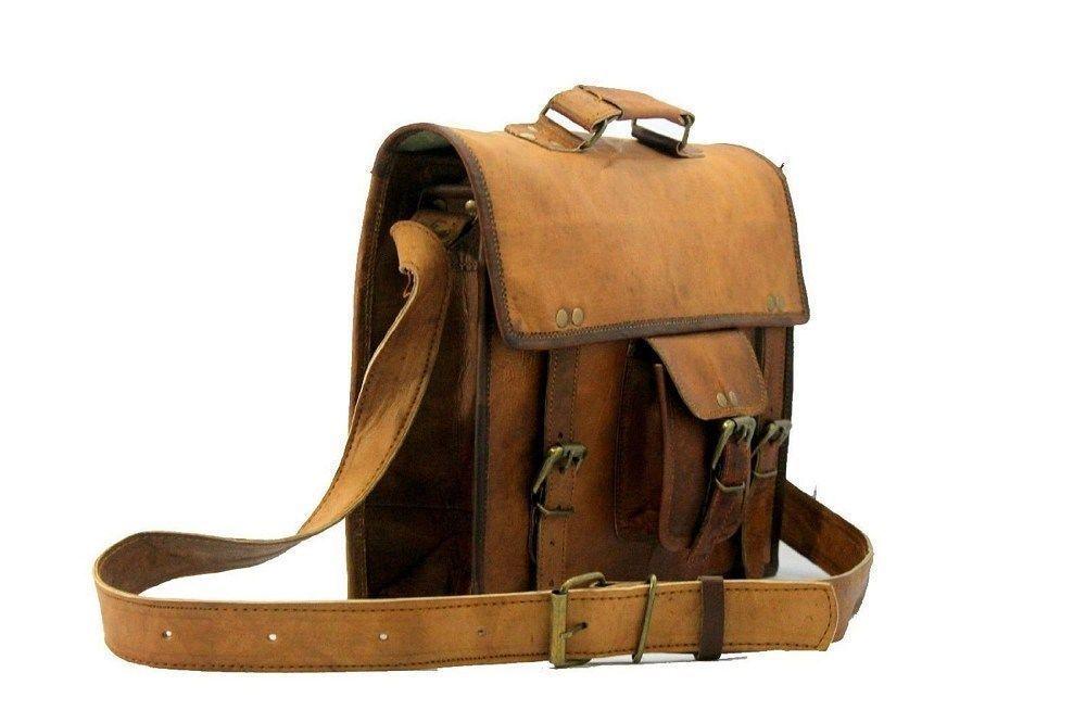 """15"""" New Men's Vintage Brown Leather Messenger Shoulder Laptop Briefcase Bag"""