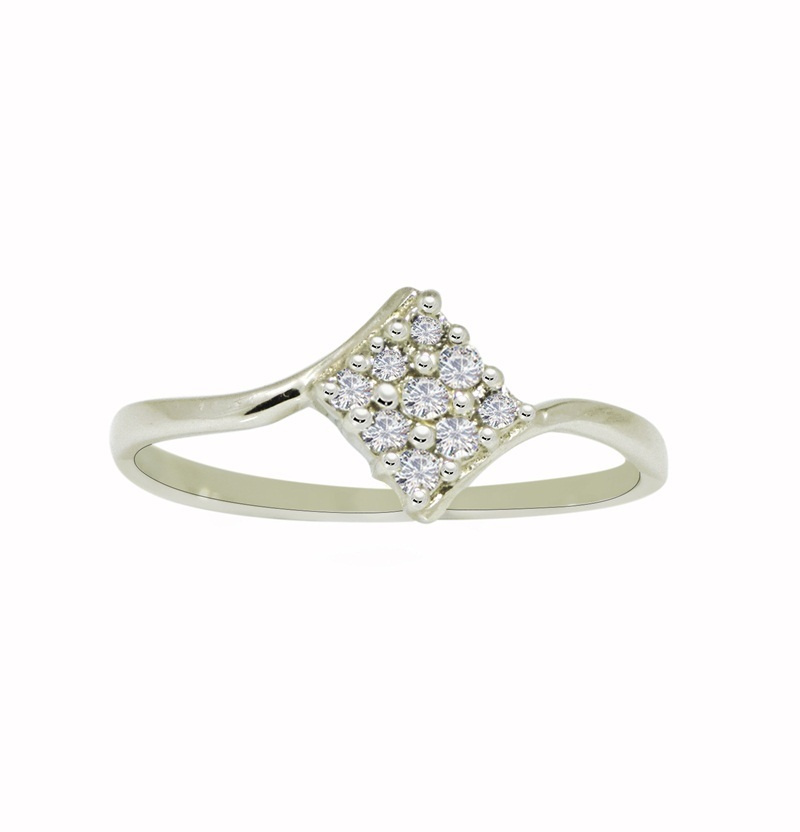 Pure 925 Sterling Silver Ring with Cubic Zirconia Gemstone Silver Ring SR643