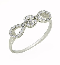 Infinity Looking Ring with Cubic Zirconia solid Gemstone 925 Sterling Ri... - $6.39