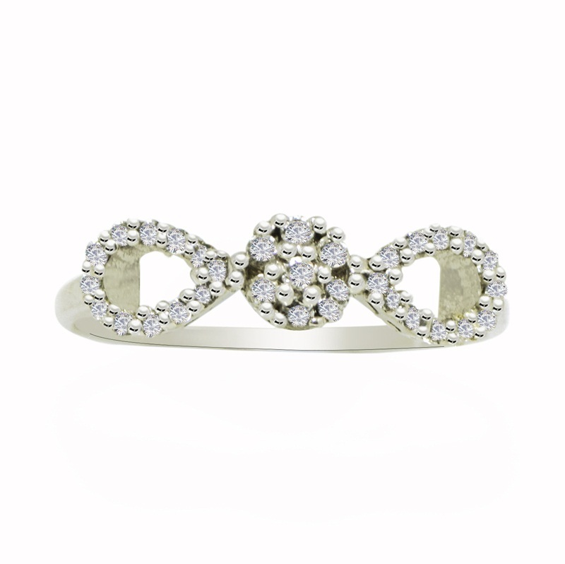 Infinity Looking Ring with Cubic Zirconia solid Gemstone 925 Sterling Ring SP644