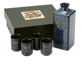 Asian 1900 Now Japanese Happy Sales HSSSDFS08 5 pc sake set Blue Dragonfly - $42.42