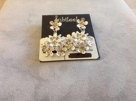 New Jubilee! Floral Silver Toned Jewelry Set Ring Earrings Bracelet Pink image 5