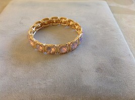 New Jubilee! Floral Silver Toned Jewelry Set Ring Earrings Bracelet Pink image 2