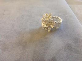 New Jubilee! Floral Silver Toned Jewelry Set Ring Earrings Bracelet Pink image 4