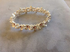 New Jubilee! Floral Silver Toned Jewelry Set Ring Earrings Bracelet Pink image 3