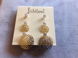 New Jubilee! Decorative Gold Toned Earrings Gemstones and Pearls image 2