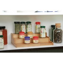Seville Classics 3Tier Expandable Bamboo Spice Rack Step Shelf Organizer... - $30.43