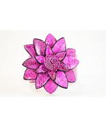 Real Leather Snake Print Flower Cuff Bracelet - $15.00