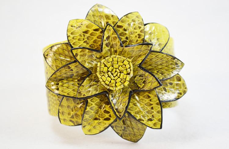 Real Leather Snake Print Flower Cuff Bracelet