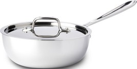 AllClad 4212 Stainless Steel TriPly Bonded Dishwasher Safe Saucier Pan with - $200.93