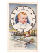 Baby New Year in Clock Face Snowy Winter Scene Vintage Whitney Postcard - $5.69