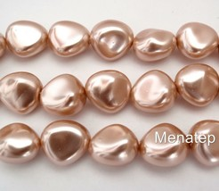 12  11 x 9 mm Czech Glass Nugget Beads: Pearl Coated - Vintage Rose - $2.27