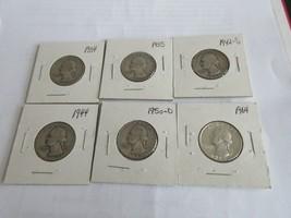 Washington Quarter Dollar , Lot of 6 ,1934-1964 - $45.00