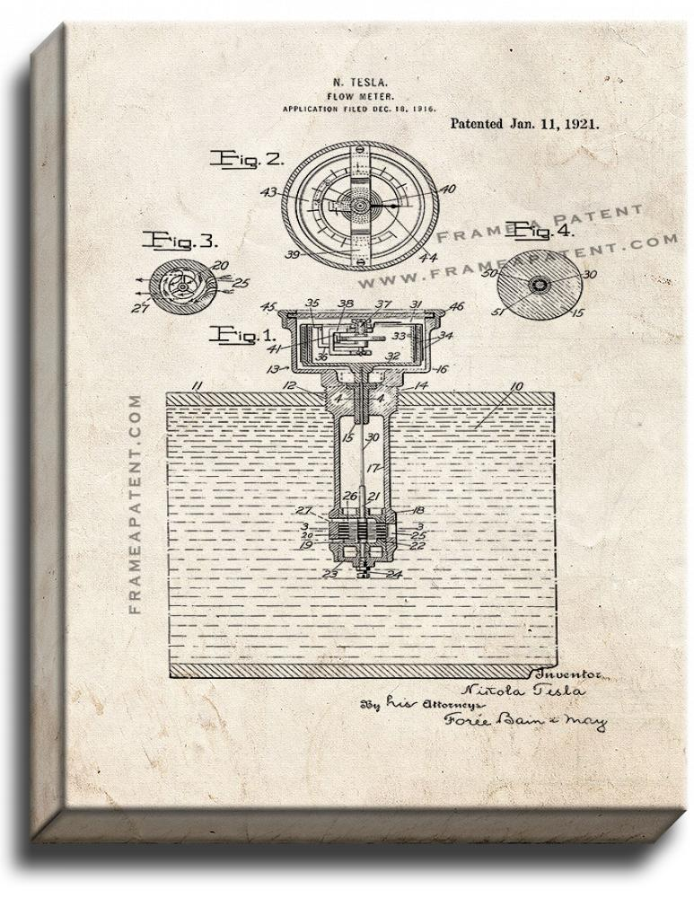 Primary image for Flow-meter Patent Print Old Look on Canvas