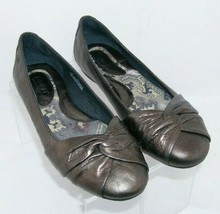 Born Lilly bronze metallic leather round toe knotted slip on ballet flat... - $33.30