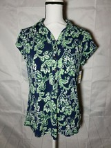 Charter Club womens Polo Intrpd Blue Cmb Top Blue and Green Sizes Medium - $20.57