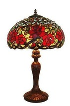 Tiffany Style Hand Crafted Red Roses Table Lamp 24 In - $229.00