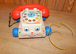 VINTAGE 1961 FISHER PRICE CHATTER BOX TELEPHONE PHONE PULL TOY #747 WOOD... - $12.58
