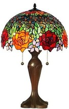 TIFFANY STYLE HAND-CRAFTED RED ROSES TABLE LAMP 23 IN - $246.51