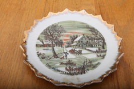 Currier and Ives Homestead in Winter Decorative Plate With Gold Trim - $18.68