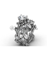Platinum  diamond leaf and vine, Fleur de Lis engagement set VD20859S - $2,650.00