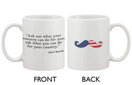 American Flag Design Ceramic Coffee Mug Statement - John F. Kennedy Quote - €13,18 EUR
