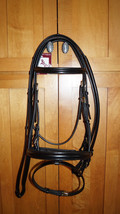 Bobby's FULL Black/BRASS Padded Flash Dressage Bridle w/Reins -Regular C... - $165.00