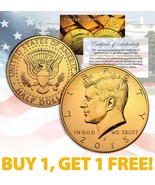 24K GOLD PLATED 2015 JFK Kennedy Half Dollar Coin w/Capsule * BUY 1 GET ... - €8,89 EUR