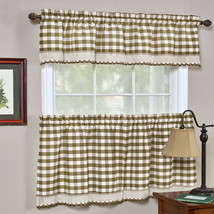 Buffalo Check Taupe Gingham Kitchen Curtain Window Treatment Assorted Sizes - $15.19+