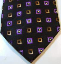 ERMENEGILDO ZEGNA Rich metallic Black Purple Borwn Squares RARE 100% Sil... - $29.99