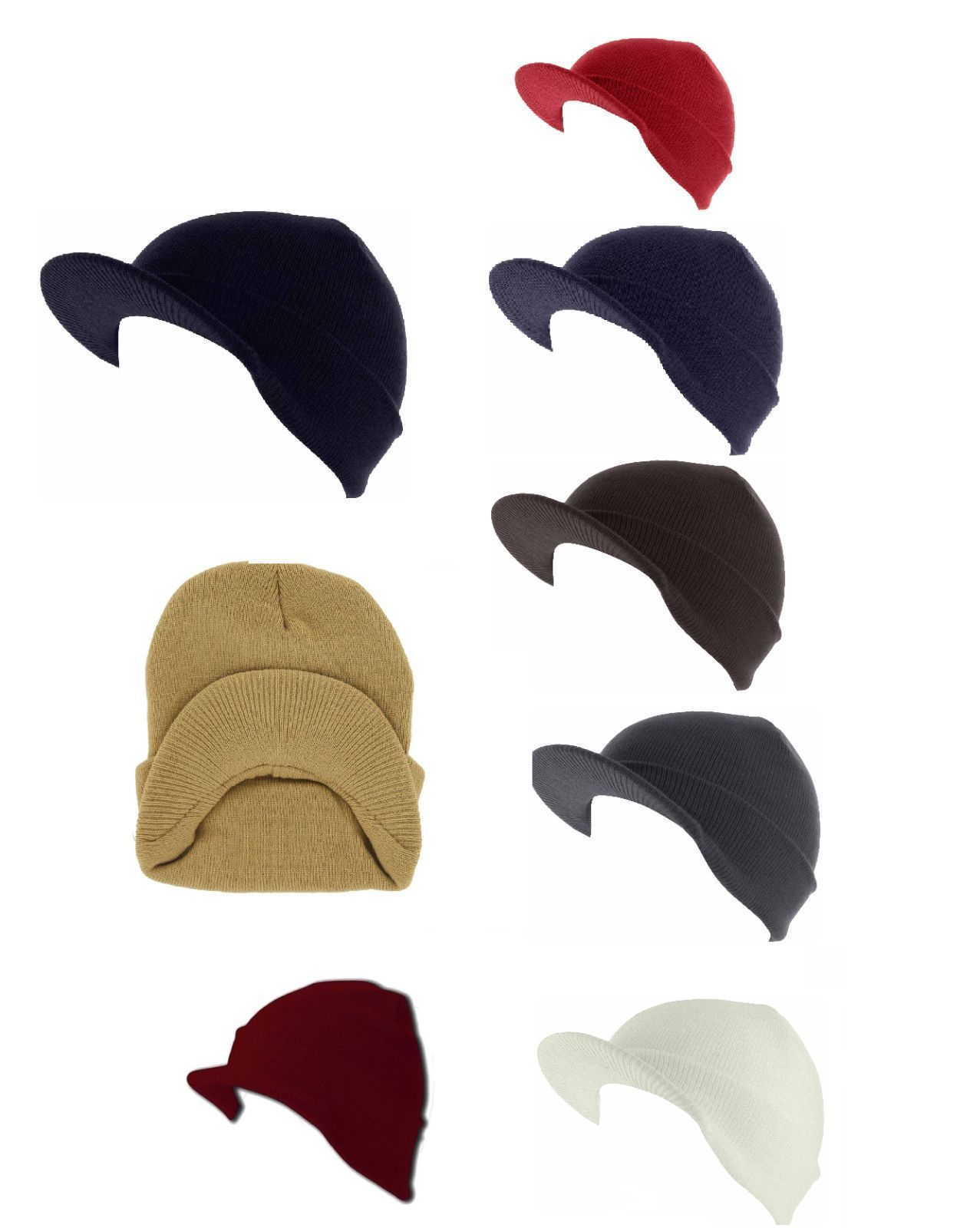 125c58a52f5 Plain Visor Beanie Winter Ski Hat Cap Skull and similar items. S l1600