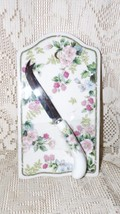 ANDREA BY SADEK MADE IN JAPAN PORCELAIN CHEESE TRAY AND KNIFE FLOWERS & ... - $19.79