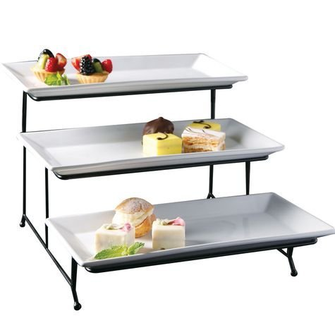 Perlli 3 Tier Rectangular Serving Platter- Three Tiered Cake Tray Stand- Food Se