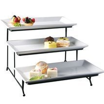 Perlli 3 Tier Rectangular Serving Platter- Three Tiered Cake Tray Stand-... - £46.27 GBP