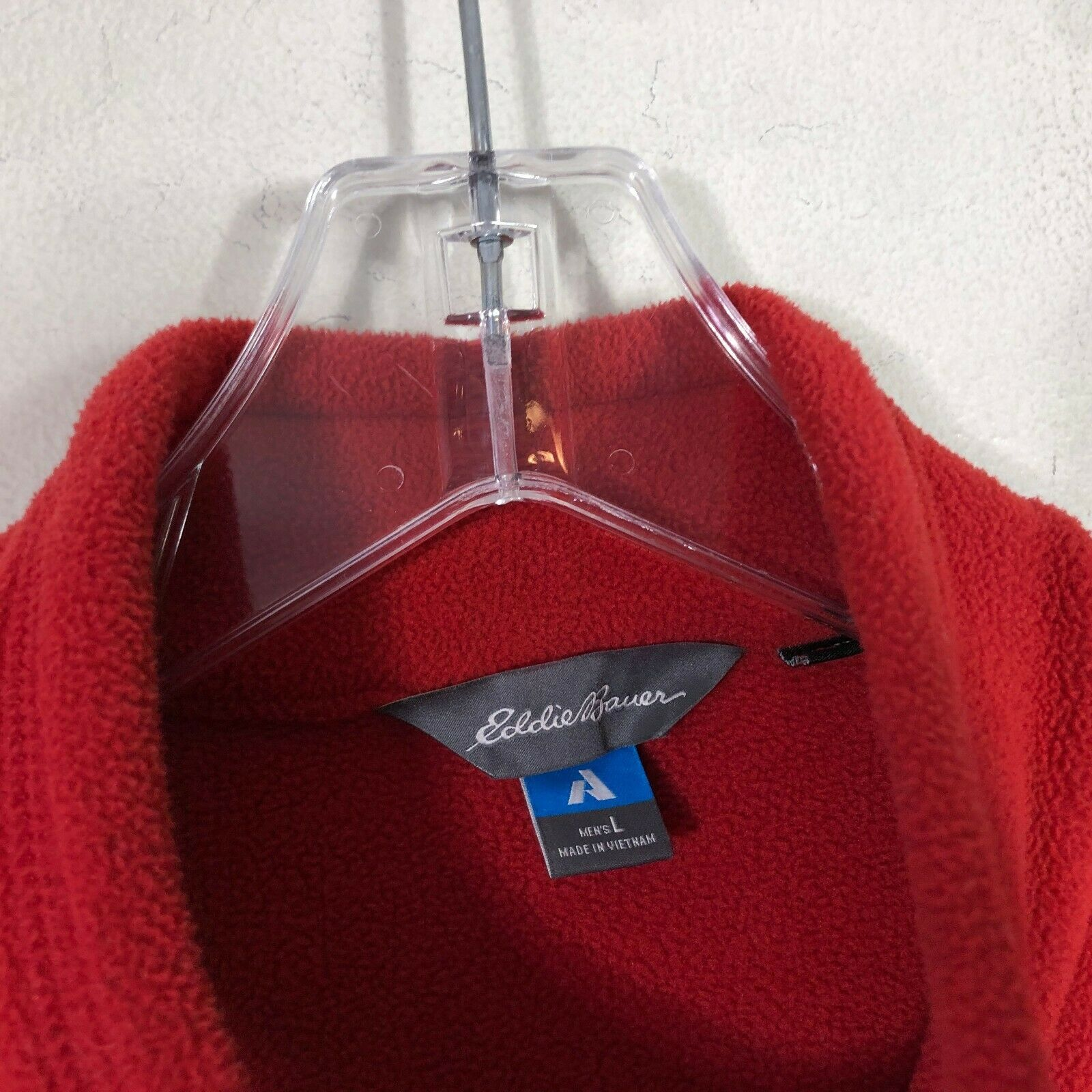 Eddie Bauer First Ascent Fleece Jacket Large Red Long Sleeve Pull Over 1/2 Zip image 8