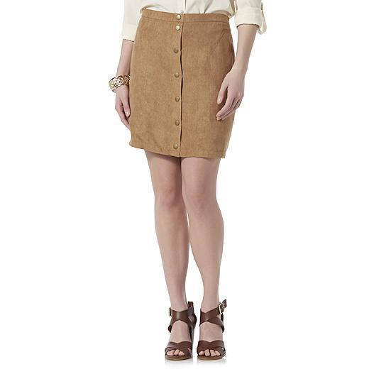 Primary image for Metaphor Women's Missy Microsuede Mini Skirt Toasted Coconut Size 14 NEW