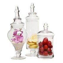 Designer Clear Glass Apothecary Jars (3 Piece Set) Decorative Weddings C... - $49.95