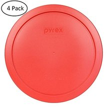 Pyrex 2 Cup Round Storage Cover 7200pc for Glass Bowls Pack of 4 Red Color - £10.08 GBP