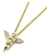 "Men 14k Gold Plated Si Stardust Long Wings Angel Pendant Hip-Hop 24"" Cub... - $13.76"