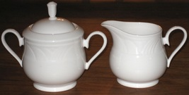 Lenox China HTF Retired Pattern, Snowdrift White 2 Pieces-Creamer and Sugar Bowl - $27.99
