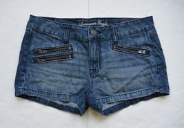 American Eagle Shorts 8 M Denim Jeans Shortie Zip Pockets Wisckered Blue New - $24.95