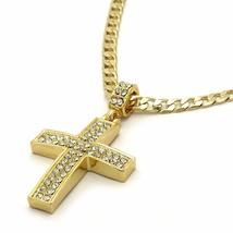 "Mens 14k Gold Filled Fully Cz Cross Pendant Hip-Hop 24"" Cuban Necklace C... - $13.36"